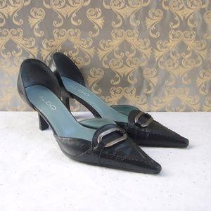 Aldo D'orsay Black Leather Kitten Heel Pump - 6.5